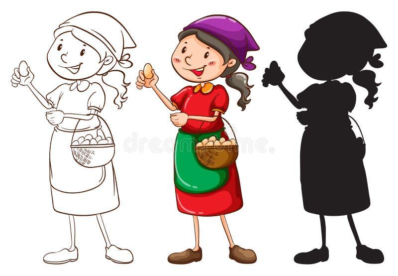 一个女性供营商的剪影用不同的颜色 库存例证