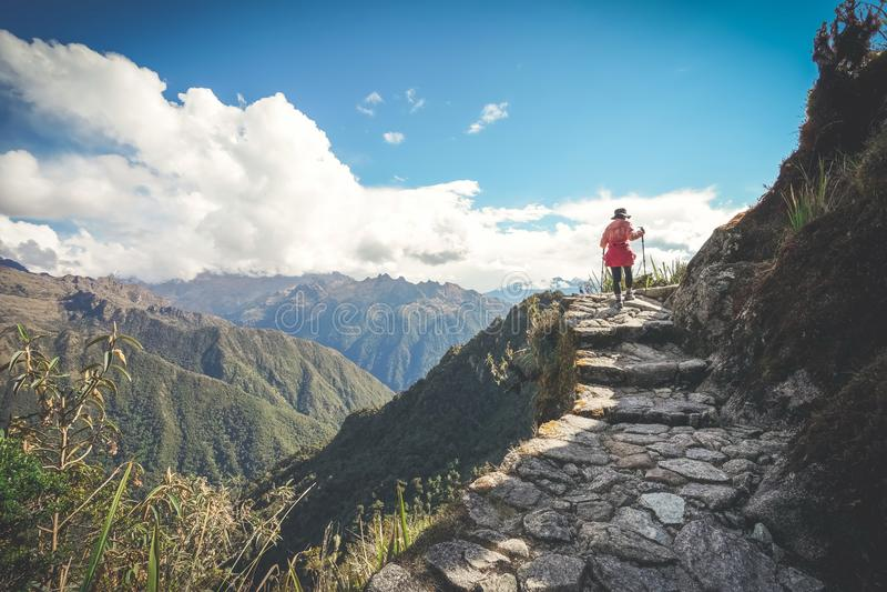 一个女性徒步旅行者在秘鲁的著名印加人足迹走有拐杖的 她是在途中到马丘比丘 库存照片