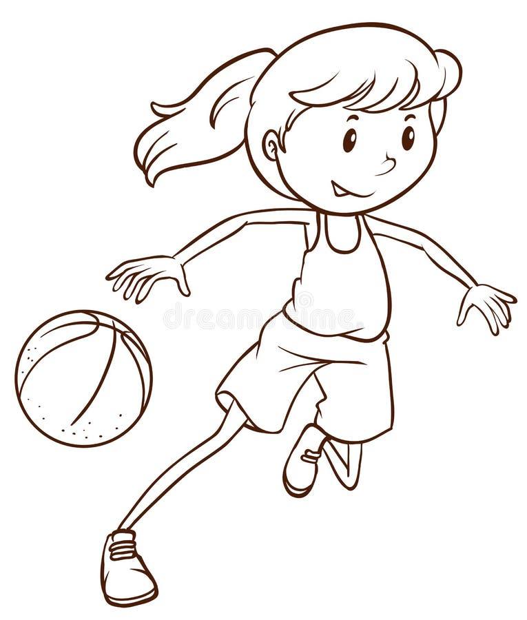 一个女性蓝球运动员的一个简单的剪影 皇族释放例证