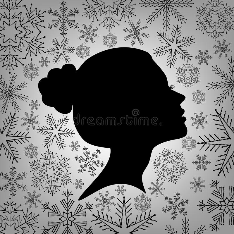 一个女性头的剪影反对从雪花的 库存例证