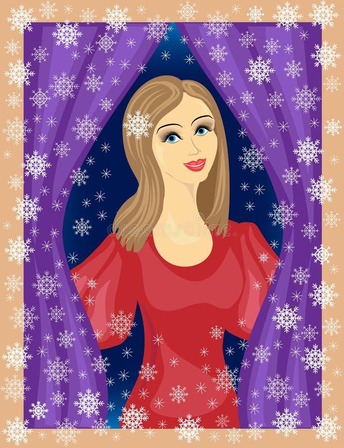 一个好夫人看窗口 女孩微笑着,她在心情 在街道冬天,美丽的雪花是 库存例证