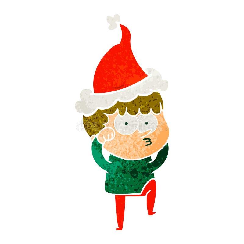一个好奇怀疑地戴圣诞老人帽子的男孩摩擦的眼睛的减速火箭的动画片 向量例证
