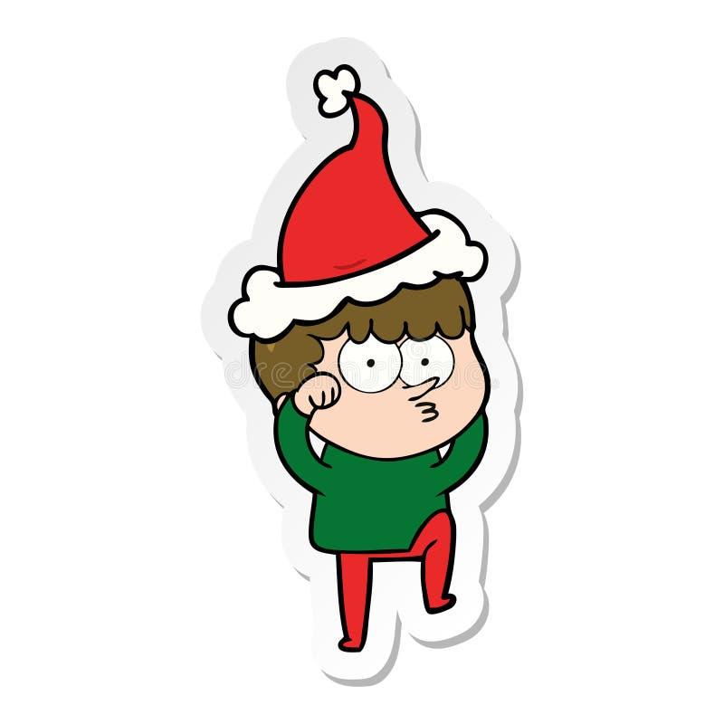 一个好奇怀疑地戴圣诞老人帽子的男孩摩擦的眼睛的贴纸动画片 库存例证