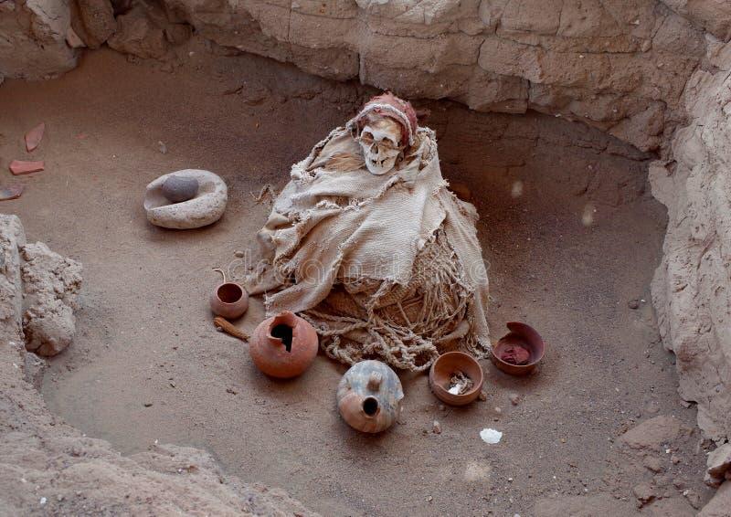 一个妈咪在Chauchilla公墓 免版税图库摄影
