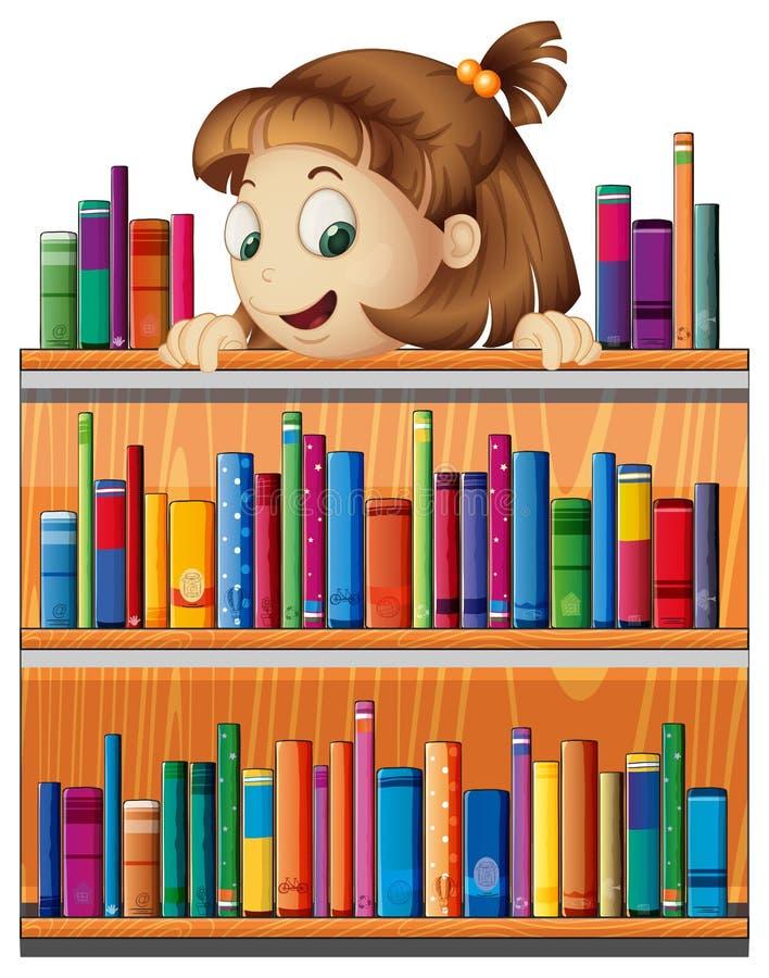 一个嬉戏的女孩在图书馆里 向量例证