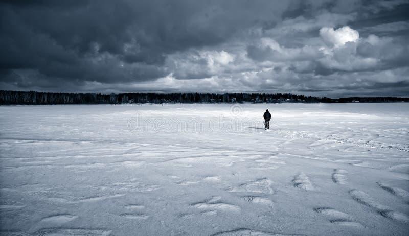 一个孤独姿态在一个积雪的结冰的湖 免版税库存图片