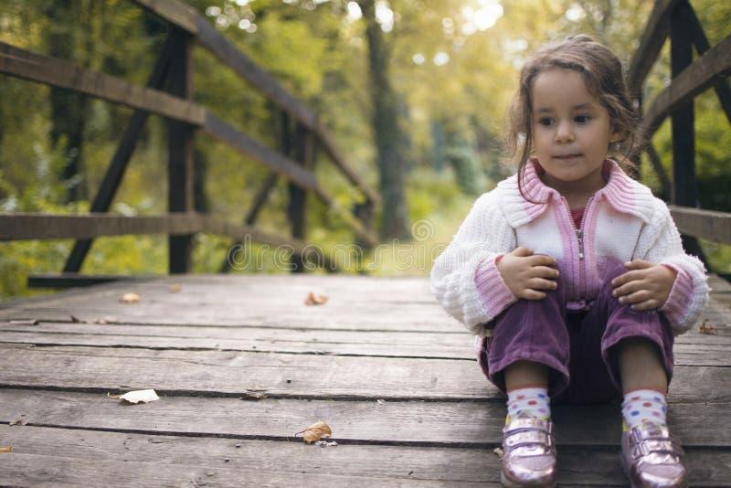 一个孤独的甜小女孩坐在t的一个小木桥 免版税库存照片