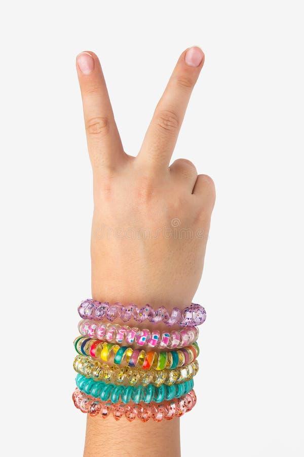 一个孩子的手白色背景的显示在上面的两个手指 库存图片