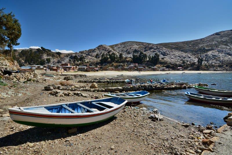 一个安静的海湾在Comunidad Challapampa del isla sol 湖Titicaca 流星锤 图库摄影