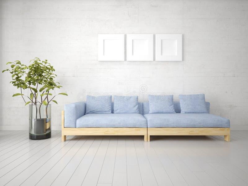 一个完善的客厅的嘲笑有一个原始的时髦的沙发的 库存例证