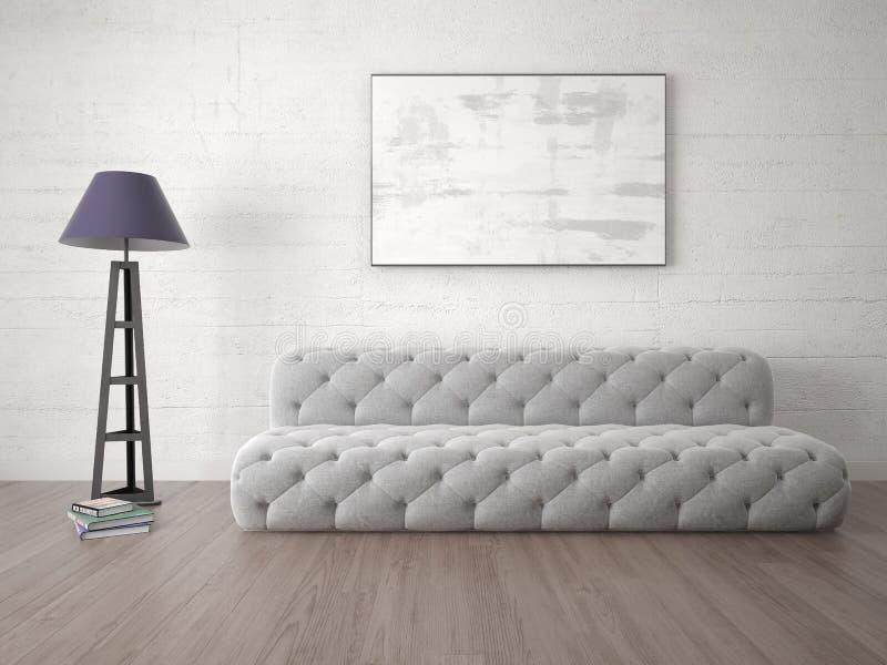 一个完善的客厅的嘲笑有一个原始的沙发的 皇族释放例证