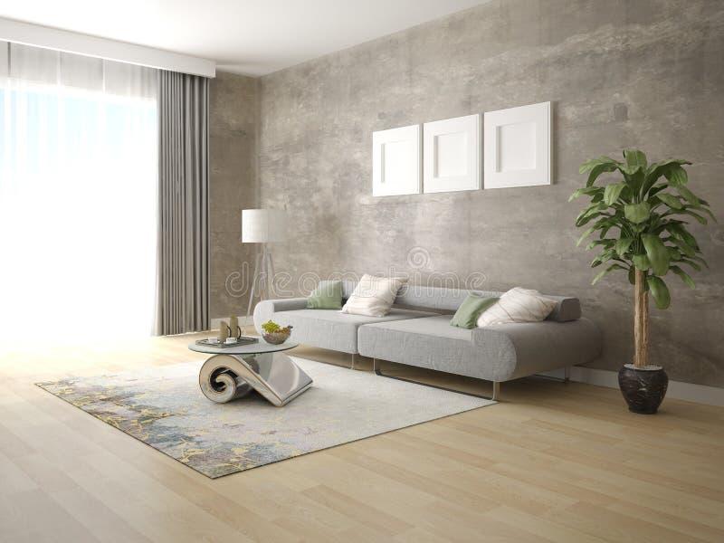 一个完善的客厅的嘲笑有一个时兴的舒适的沙发的 库存照片