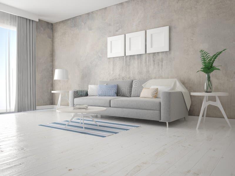 一个完善的客厅的嘲笑有一个时髦的原始的沙发的 向量例证