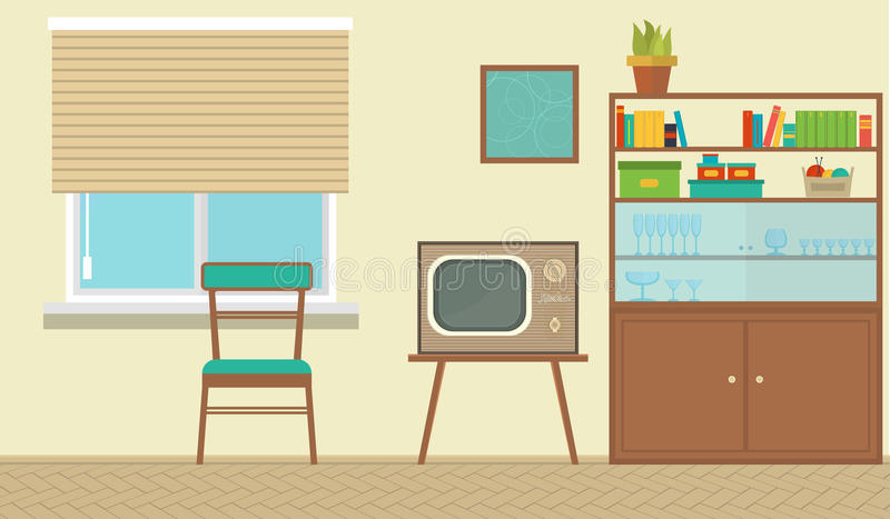 一个客厅的内部有家具的,葡萄酒室,减速火箭的设计 平的样式例证 库存例证