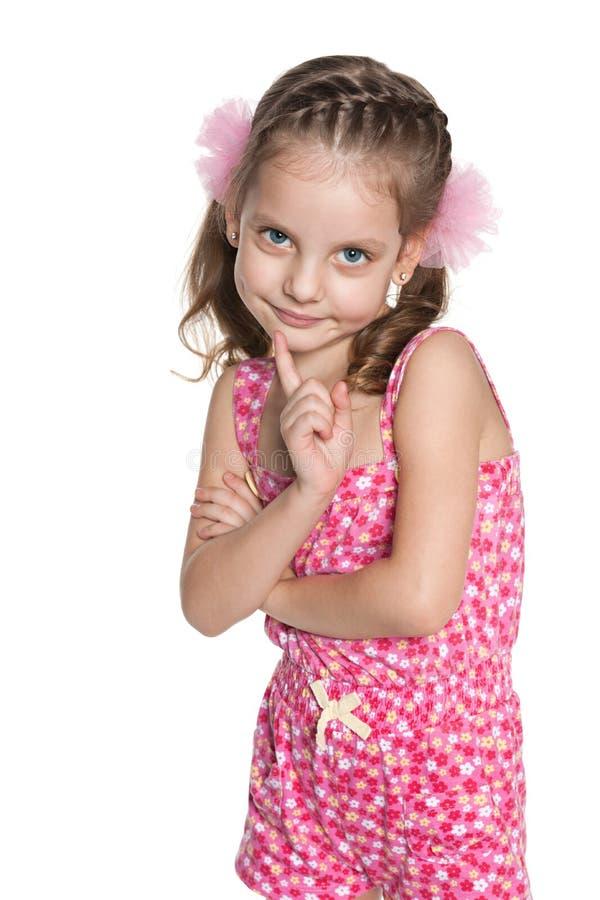 一个害羞的小女孩的画象 免版税库存照片