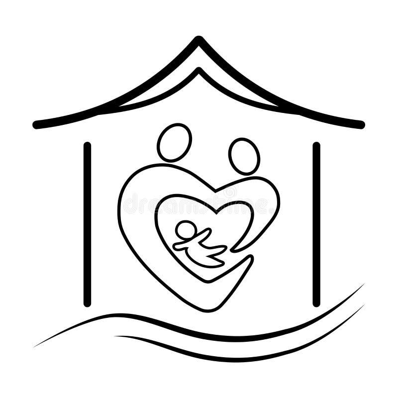 一个家庭标志的传染媒介剪影在保护下,在房子里家庭夫妇一个男人和一名妇女有孩子的 库存例证