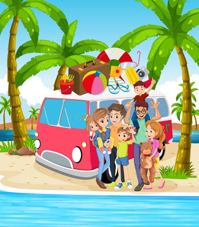 一个家庭海滩假日 向量例证