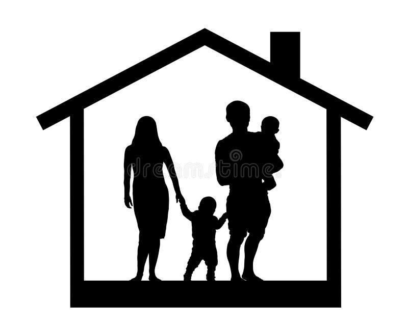 一个家庭的剪影有孩子的在房子,传染媒介例证里 向量例证