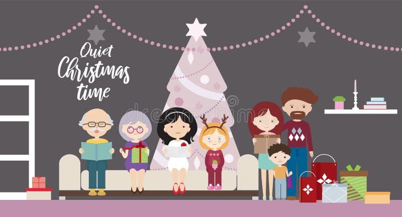 一个家庭的动画片平的设计例证在一棵圣诞树的与礼物 有母亲的父亲和祖母和祖父, 向量例证