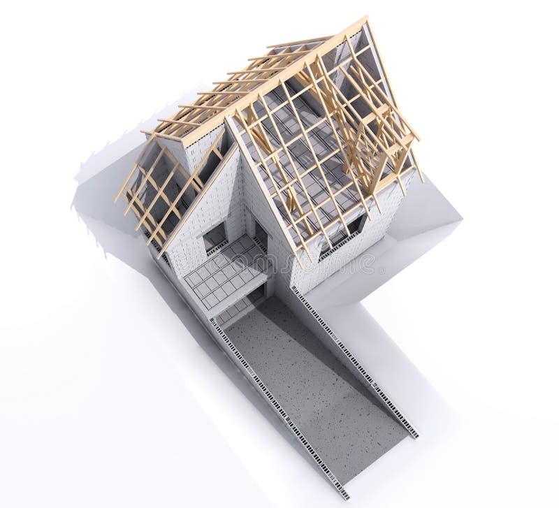 一个家的鸟瞰图有基础的建设中 向量例证