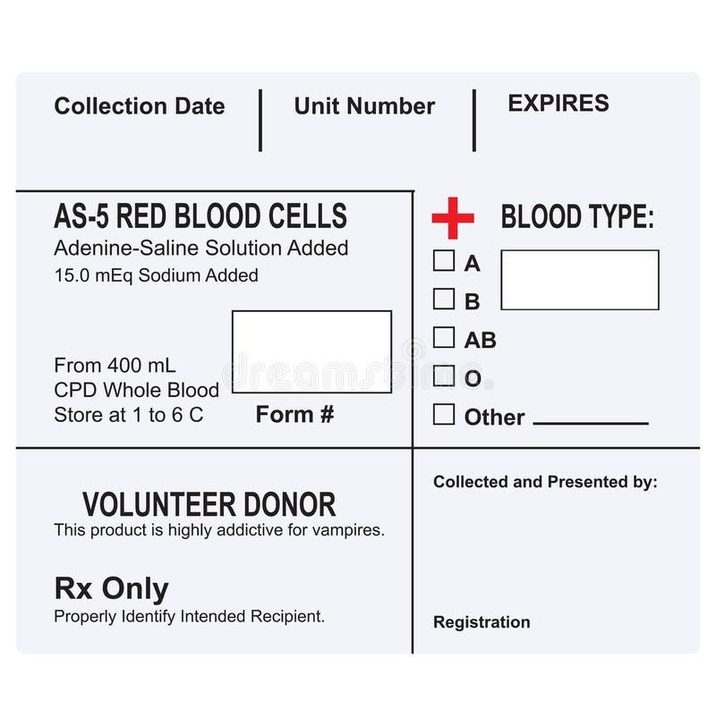 一个容器的标签有血液的 皇族释放例证