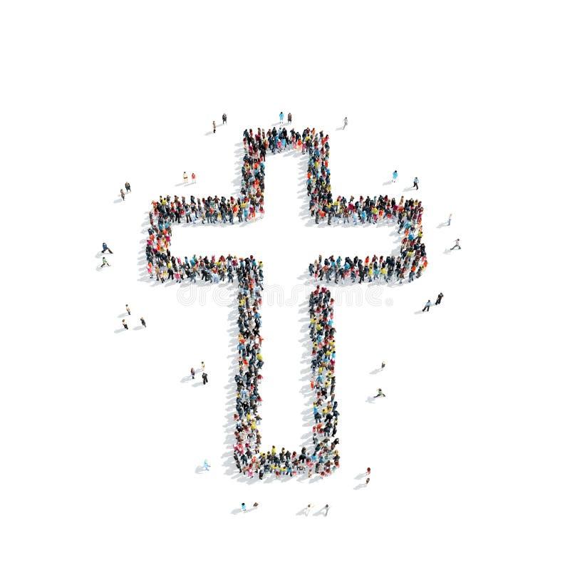 以一个宽容十字架的形式人们,宗教 向量例证