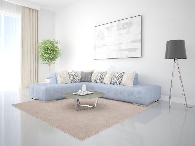 一个宽敞客厅的嘲笑有一个创造性的壁角沙发的 皇族释放例证
