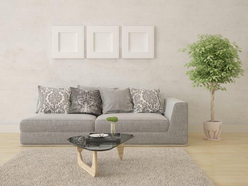 一个宽敞客厅的嘲笑有一个原始的舒适的沙发的 向量例证