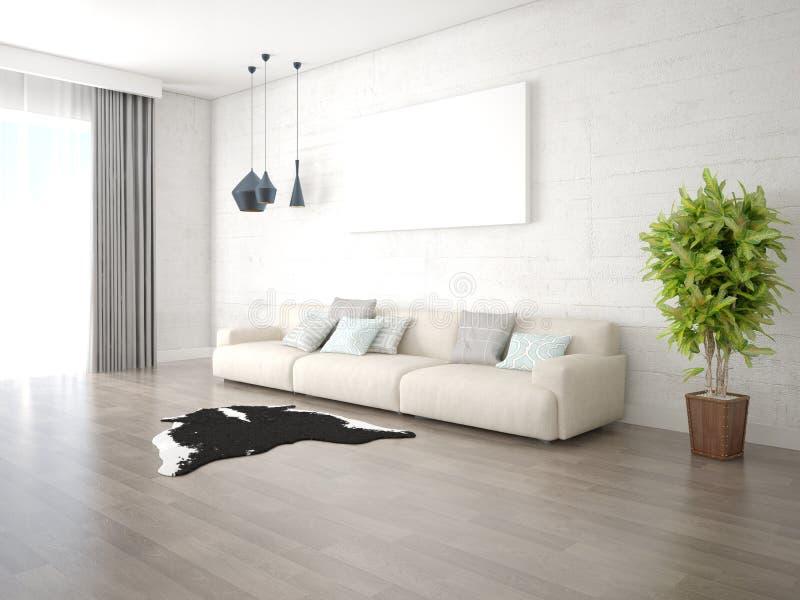 一个宽敞客厅的嘲笑有一个大时髦的沙发的 向量例证