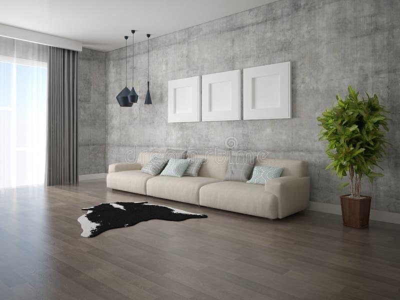 一个宽敞客厅的嘲笑有一个大舒适的沙发的 库存例证