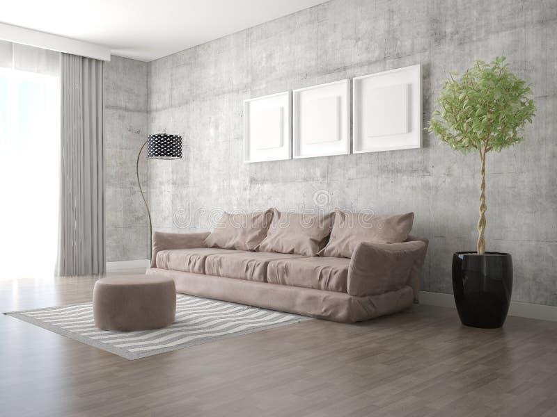 一个宽敞客厅的嘲笑有一个时兴的舒适的沙发的 皇族释放例证