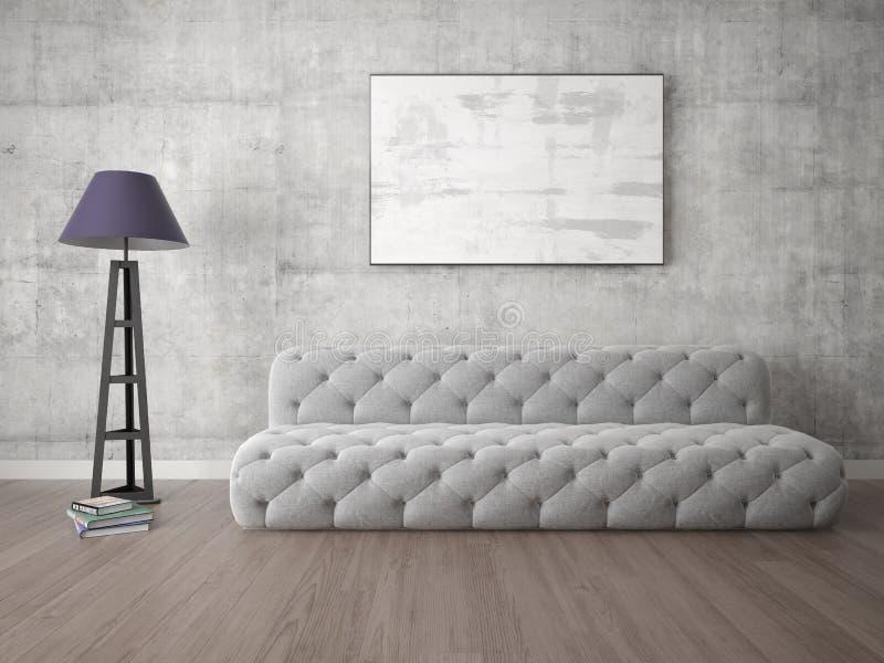 一个宽敞客厅的嘲笑有一个时髦的沙发的 库存例证