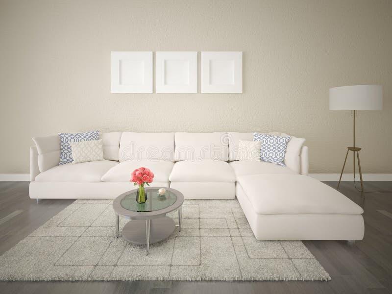 一个宽敞客厅的嘲笑有一个明亮的壁角沙发的 图库摄影