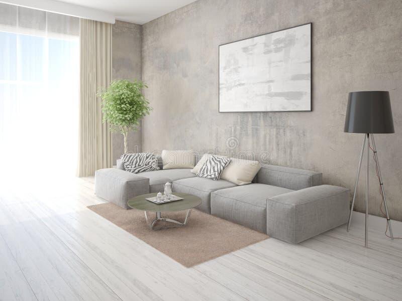 一个宽敞客厅的嘲笑有一个灰色壁角沙发的 库存例证