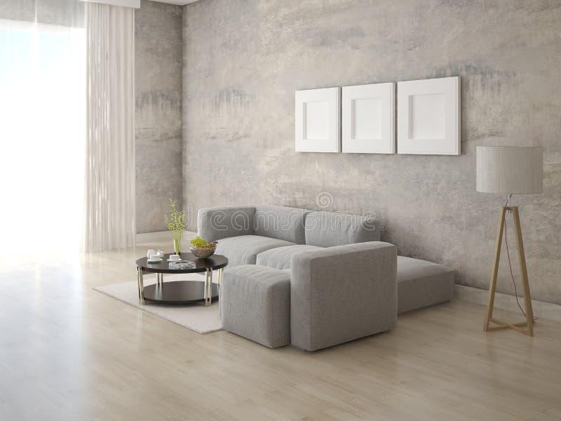 一个宽敞客厅的嘲笑有一个舒适的壁角沙发的 库存例证