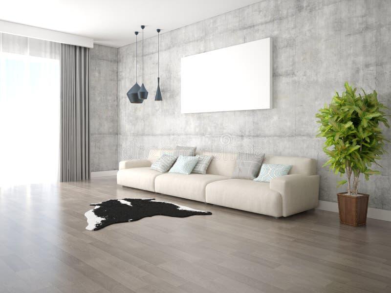 一个宽敞客厅的嘲笑有一个轻的舒适的沙发的 库存例证