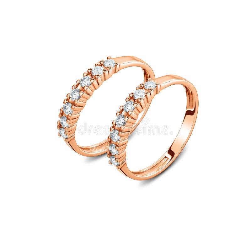一个对与被隔绝的金刚石的豪华玫瑰色金戒指 库存图片