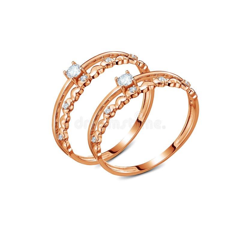 一个对与被隔绝的金刚石的豪华玫瑰色金戒指 图库摄影