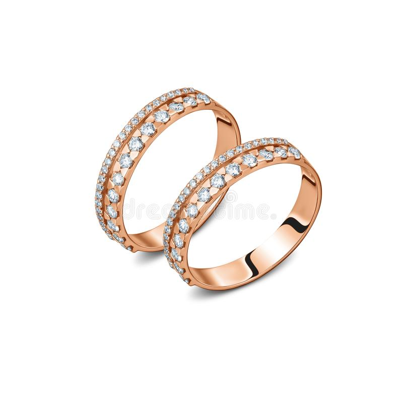 一个对与金刚石的豪华玫瑰色金戒指 免版税库存照片