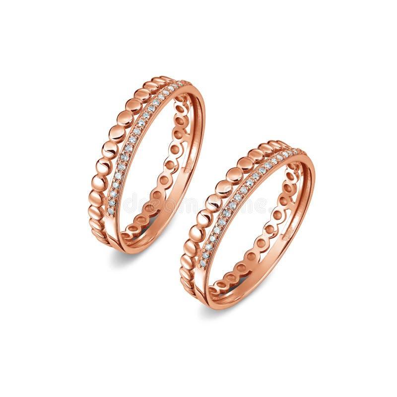 一个对与金刚石的豪华玫瑰色金戒指 免版税图库摄影
