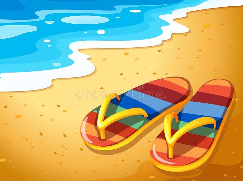 一个对在海滩的凉鞋 向量例证