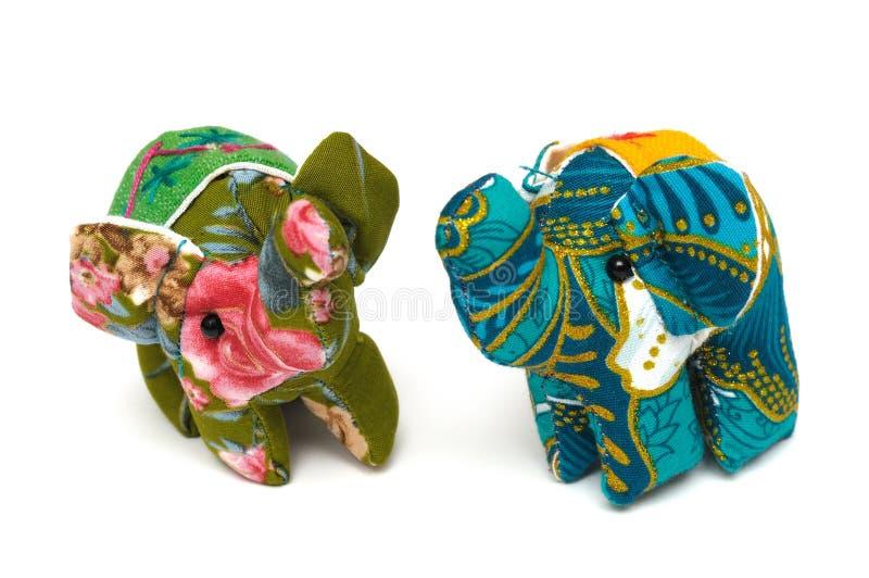 一个对小大象被充塞的玩具 免版税图库摄影