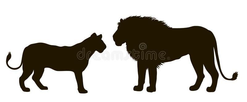 一个对的传染媒介剪影狮子 向量例证