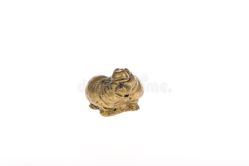 一个对的古铜色雕象河马 库存照片