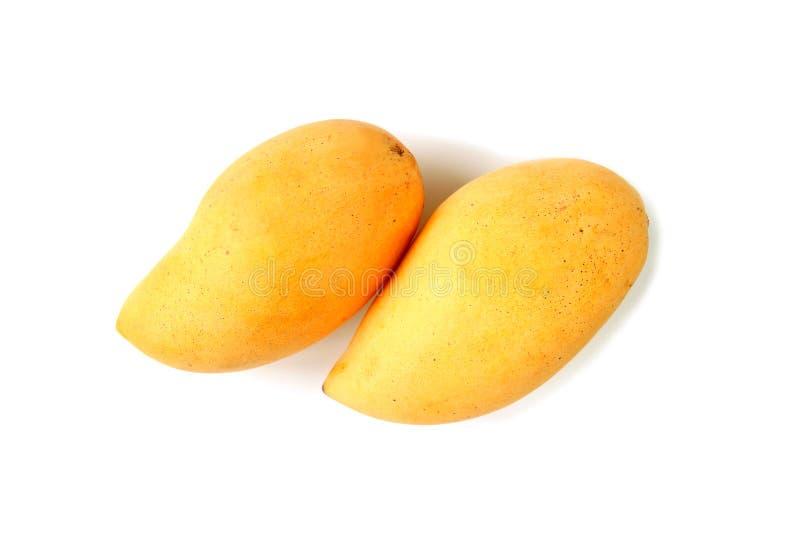 一个对的顶视图在白色背景隔绝的新鲜的成熟芒果 库存照片