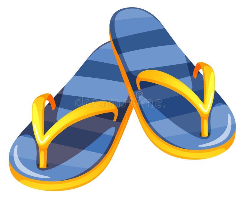 一个对蓝色凉鞋 库存例证