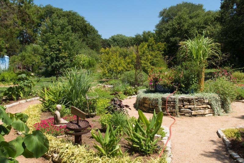 一个小亚洲庭院在一个大托儿所 免版税库存图片