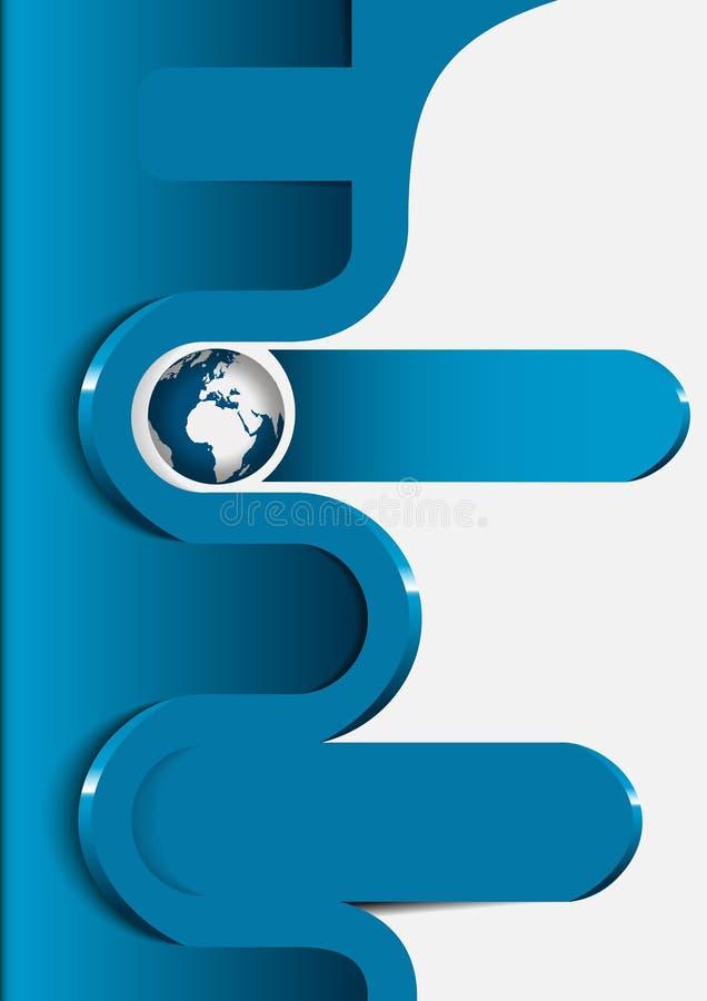 一个小册子的蓝色背景与地球的和3d挥动 库存例证