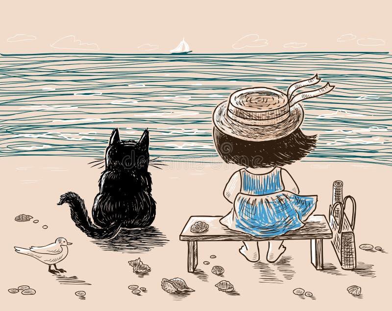 一个小女孩和她的猫基于海滨图片