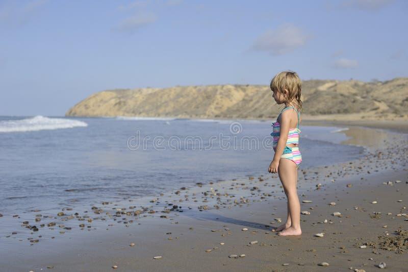一个小女孩在海滩使用 库存照片